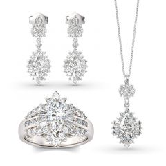 Jeulia Dazzling Halo Marquise Cut Sterling Silver Jewelry Set