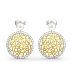 Jeulia Modern Filigree Cultured Pearl Sterling Silver Earrings