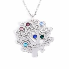 Jeulia Family Tree Sterling Silver  Personalized Necklace
