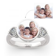 "Jeulia ""The Best Memories"" Sterling Silver Personalized Photo Ring"