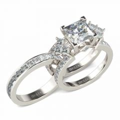 Jeulia Unique Princess Cut Sterling Silver Interchangeable Ring Set