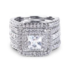 Jeulia Three Halo Princess Cut Sterling Silver Enhancer Ring Set