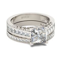 Jeulia Simple Princess Cut Sterling Silver Ring Set