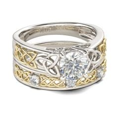 Jeulia Celtic Knot Round Cut Sterling Silver Ring Set