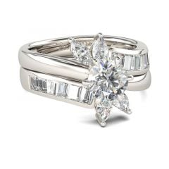Jeulia Floral Round Cut Sterling Silver Ring Set