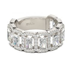 Jeulia Halo Radiant Cut Sterling Silver Women's Band
