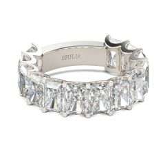 Jeulia Baguette Cut Sterling Silver Women's Band
