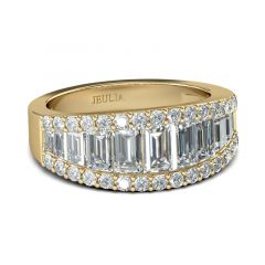 Jeulia Gold Tone Vintage Baguette Cut Sterling Silver Women's Band