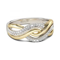 Jeulia Interwoven Two Tone Sterling Silver Women's Band