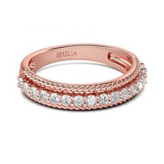 Jeulia Rose Gold Tone Sterling Silver Women's Band
