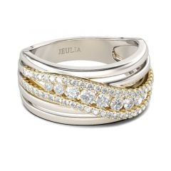 Jeulia Two Tone Intertwined Sterling Silver Women's Band