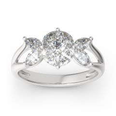 Jeulia Cluster Round and Marquise Cut Sterling Silver Cocktail Ring