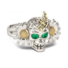 Jeulia Daisy Bee Sterling Silver Skull Ring