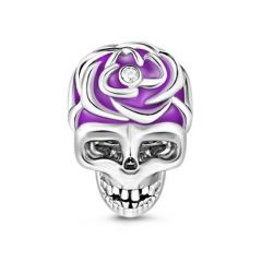 Purple Skull Charm Sterling Silver