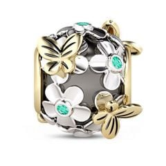 Butterfly and Flower Charm Sterling Silver