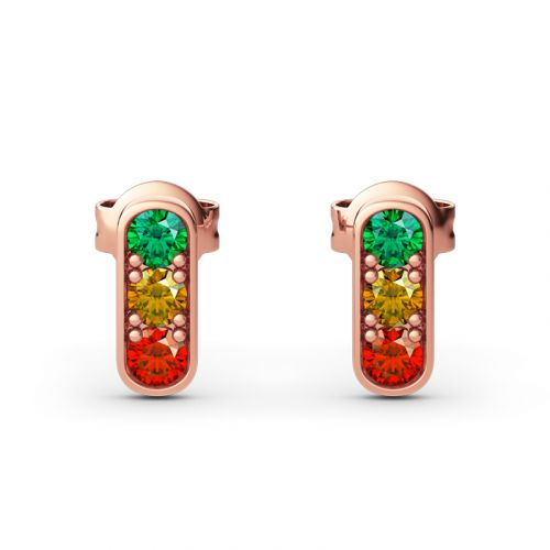 "Jeulia ""Traffic Light"" Round Cut Sterling Silver Earrings"