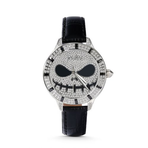 "Jeulia ""Demon of Light"" Jack Skellington Quartz Black Leather Women's Watch"