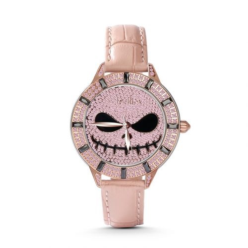 "Jeulia ""Living Skeleton"" Jack Skellington Quartz Pink Leather Women's Watch"