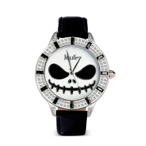 "Jeulia ""King of Halloween Town"" Jack Skellington Quartz Black Leather Watch with Mother-of-Pearl Dial"