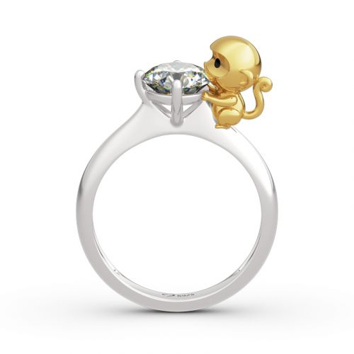 "Jeulia Hug Me ""Amusing Monkey"" Round Cut Sterling Silver Ring"