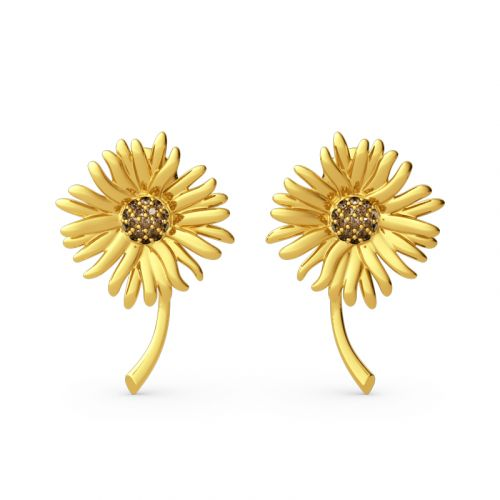 "Jeulia ""Sunflowers"" Painting Inspired Sterling Silver Stud Earrings"