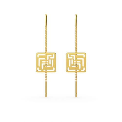"Jeulia ""Mirrored Duplicate"" Maze Design Sterling Silver Threader Earrings"