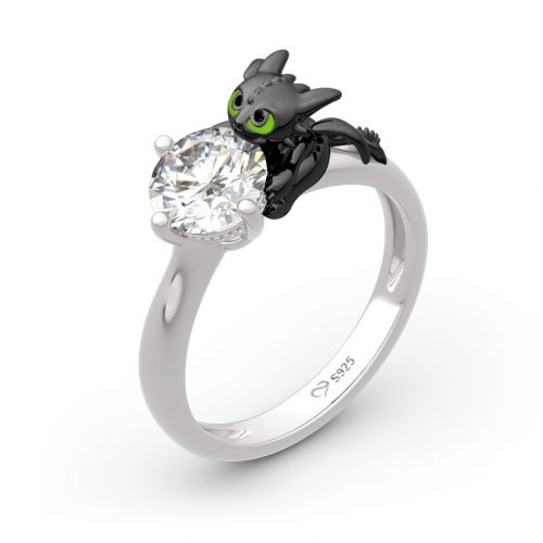 "Jeulia Hug Me ""Your Dragon"" Round Cut Sterling Silver Ring"