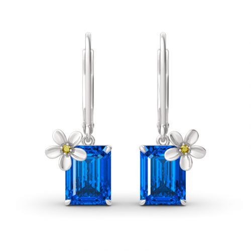 "Jeulia ""Fragrant Flower"" Emerald Cut Sterling Silver Drop Earrings"