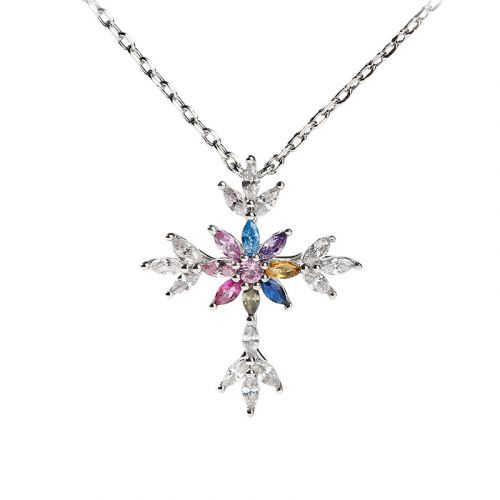 "Jeulia ""Lustrous and Brilliant"" Cross Sterling Silver Necklace"