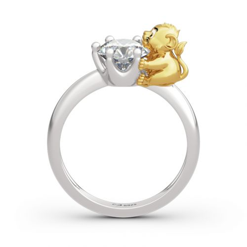 "Jeulia ""King of the Jungle"" Lion Crown Round Cut Sterling Silver Ring"