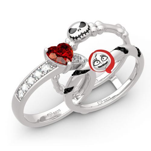 "Jeulia ""Skull Couple"" Heart Cut Sterling Silver Enhancer Ring Set"