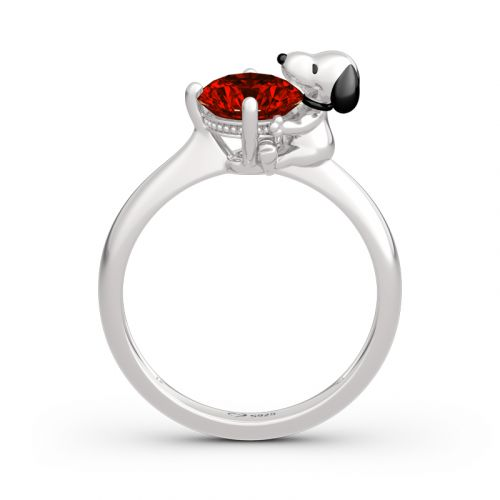 """Jeulia Hug Me """"Live in The Present"""" Puppy Round Cut Sterling Silver Ring"""