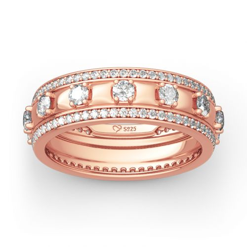 Jeulia Rose Gold Tone Round Cut Sterling Silver Women's Band