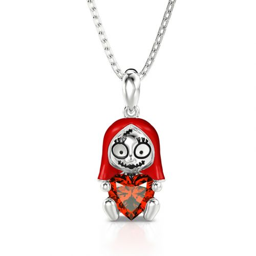 "Jeulia Hug Me ""Endless Joy"" Skull Heart Cut Sterling Silver Necklace"