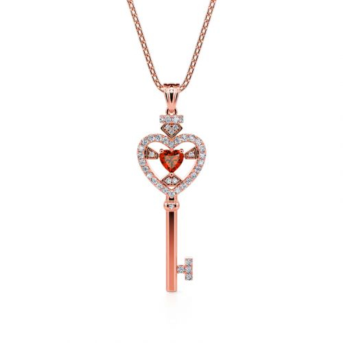 "Jeulia ""Brilliant Faith"" Heart Key Sterling Silver Necklace"