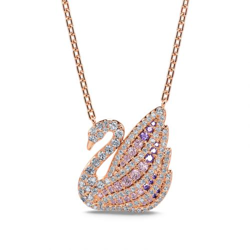 Jeulia Dreamy Swan Rose Gold Tone Sterling Silver Necklace