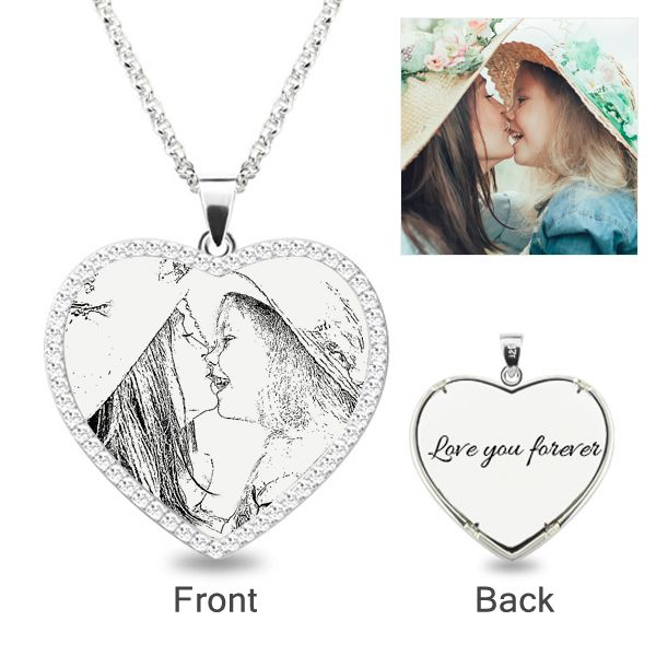 Heart laser engraved personalized photo necklace with stones heart laser engraved personalized photo necklace with stones sterling silver jeulia jewelry aloadofball Image collections