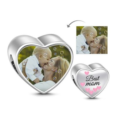 Best Mom Photo Charm Sterling Silver