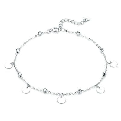 Jeulia Simple Style Disc Sterling Silver Anklet