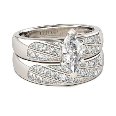 Jeulia Marquise Cut Sterling Silver Ring Set