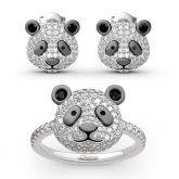 "Jeulia ""Be Calm and Steady"" Cute Panda Sterling Silver Jewelry Set"