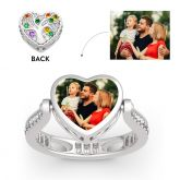 """Jeulia """"Song of Family"""" Sterling Silver Personalized Photo Ring (With A Free Chain)"""