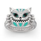 "Jeulia ""Appear and Disappear at Will"" Cat Sterling Silver Enamel Ring"