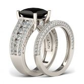 Jeulia Vintage Princess Cut Sterling Silver Ring Set