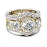 Jeulia Three Side Pave Round Cut Sterling Silver Ring Set