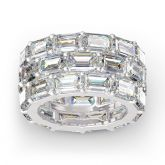 Jeulia Emerald Cut Eternity Sterling Silver Women's Band