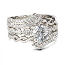 Jeulia  Twist Bypass Round Cut Sterling Silver Ring Set