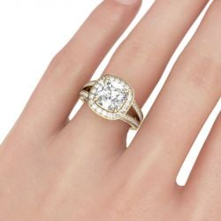 Jeulia  Gold Tone Halo Cushion Cut Sterling Silver Ring
