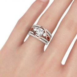 Jeulia  Two Tone Intertwined Round Cut Sterling Silver 3PC Ring Set