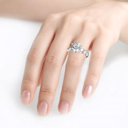 Jeulia Round Cut Sterling Silver Ring